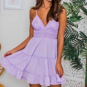 Lilac colored sundress.